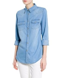 Mango Outlet Light Denim Shirt
