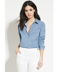 Forever 21 Patch Pocket Denim Shirt