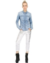 (+) People Destroyed Stretch Cotton Denim Shirt