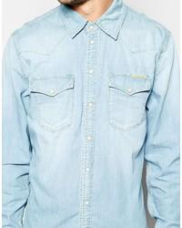 e12b8075f51 ... Pepe Jeans Pepe Denim Shirt Carson Western Slim Fit Light Wash