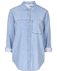 Petite Moto Bleach Denim Shirt