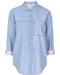 Petite Moto Bleach Denim Shirt