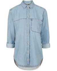 Petite Moto Flag Detailed Denim Shirt