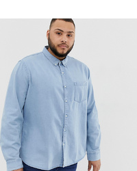 New Look Plus Regular Fit Denim Shirt In Blue Wash