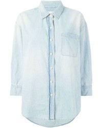 R 13 R13 Oversized Bleached Denim Shirt