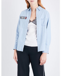 mo&co. Racing Embroidered Detail Denim Shirt