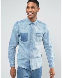Asos Regular Fit Distressed Western Denim Shirt In Blue