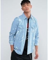 Asos Regular Fit Distressed Western Denim Shirt With Paint Splatter
