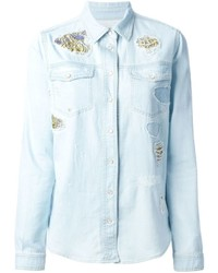 Roberto Cavalli Embroidered Details Denim Shirt