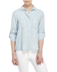Joan Vass Roll Sleeve Denim Shirt