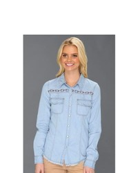 Roxy After Sundown Ls Denim Shirt Long Sleeve Button Up Light Indigo