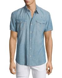 True Religion Ryan Western Style Lightweight Denim Shirt Blue