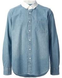 Sacai Contrasting Collar Denim Shirt