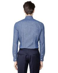 e4e3ce0343 ... Salvatore Piccolo Slim Fit Cotton Linen Denim Shirt ...