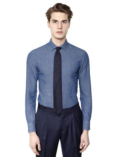 00cd329279 Salvatore Piccolo Slim Fit Cotton Linen Denim Shirt