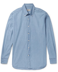 Canali Slim Fit Button Down Collar Denim Shirt