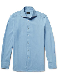 Ermenegildo Zegna Slim Fit Spread Collar Washed Denim Shirt