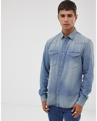 Celio Slim Fit Western Denim Shirt In Mid Blue Wash