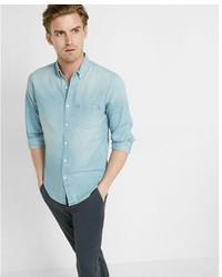 Express Soft Wash Light Denim Button Collar Shirt