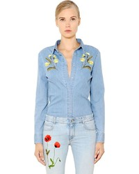Stella mccartney floral embroidered cotton denim shirt medium 584150