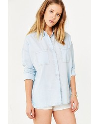 BDG Step Hem Denim Popover Shirt