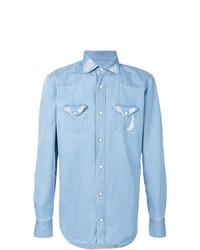 Eleventy Stitch Detail Denim Shirt