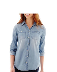 jcpenney Stylus Stylus Long Sleeve Boyfriend Denim Shirt
