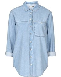 Tall Moto Bleach Denim Shirt
