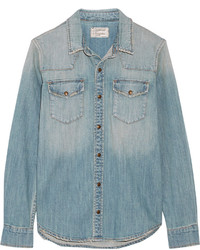 Current/Elliott The Socal Western Distressed Stretch Denim Shirt