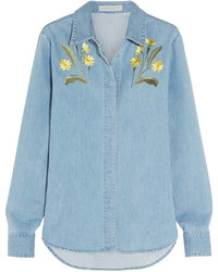 Stella McCartney Theres Embroidered Stretch Denim Shirt