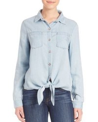 7 For All Mankind Tie Front Denim Shirt