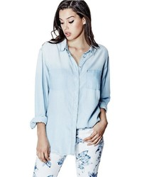 GUESS Tomboy Denim Shirt In Cleanse Destroy Wash