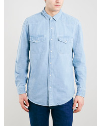 Topman Bleach Denim Long Sleeve Shirt