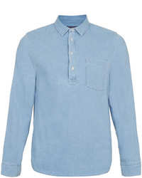Topman Light Blue Denim Overhead Long Sleeve Shirt