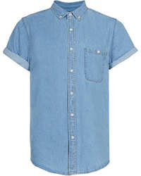 Topman Light Blue Short Sleeve Denim Shirt