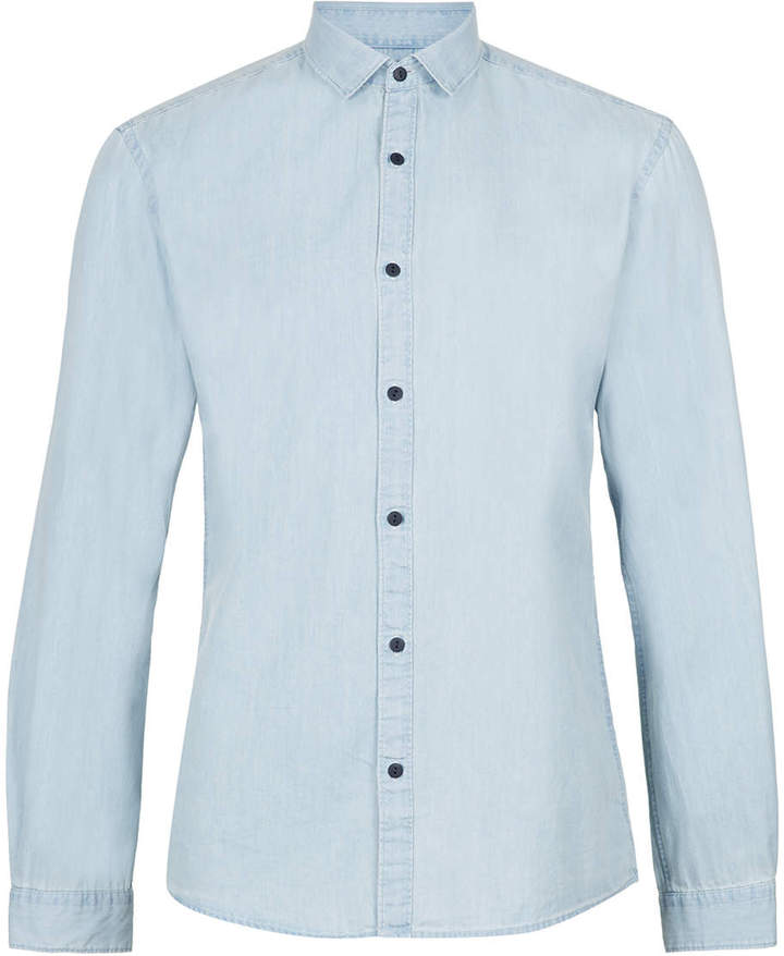 3cb00da0bf1 ... Denim Shirts Topman Selected Homme Blue Shirt ...