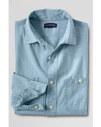 Classic Traditional Fit Chambray Shirt Dark Wash4