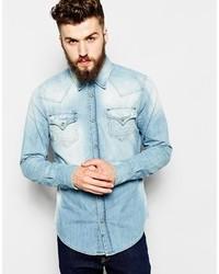 True Religion Denim Shirt Jake Slim Fit Western Light Indigo