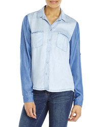 Andrea Jovine Two Tone Hi Low Denim Shirt