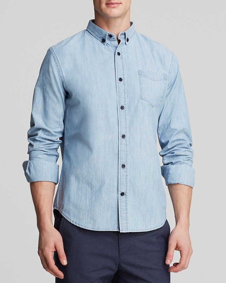 Vince denim woven button down shirt slim fit where to for Light blue button down shirt