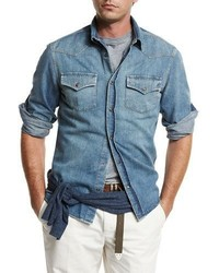 Brunello Cucinelli Western Style Button Down Denim Shirt