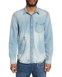 Weston slim fit destructed denim shirt medium 3772698