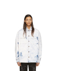 Off-White White And Blue Denim Oversized Arrows Jacket