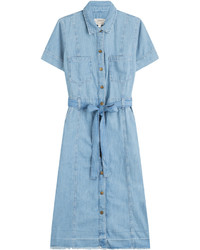 Current/Elliott Belted Denim Shirt Dress