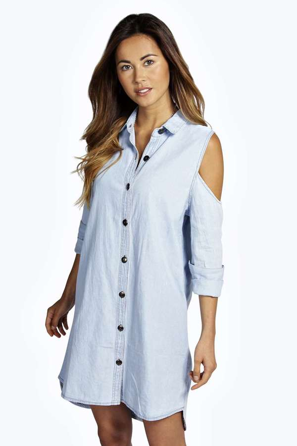 Boohoo cassie denim open shoulder shirt dress where to for Where to buy a dress shirt