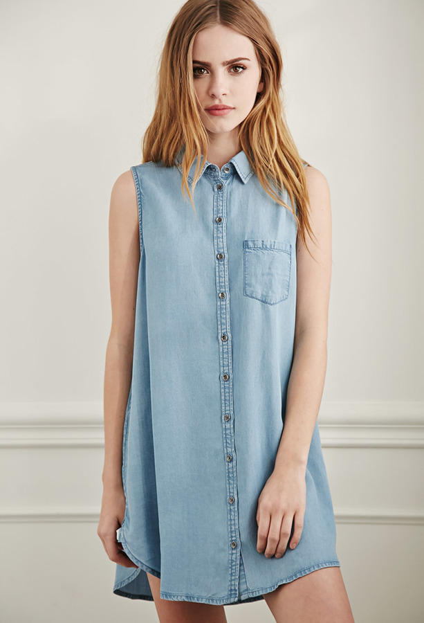 1d4f9be8 Forever 21 Chambray Tunic, $27 | Forever 21 | Lookastic.com