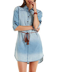 Charlotte Russe Belted Chambray Shirt Dress