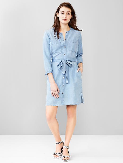 d5bdaaa449 ... Light Blue Denim Shirtdresses Gap 1969 Linen Denim Belted Shirtdress ...