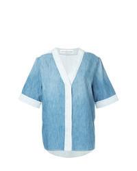 Light Blue Denim Short Sleeve Button Down Shirt