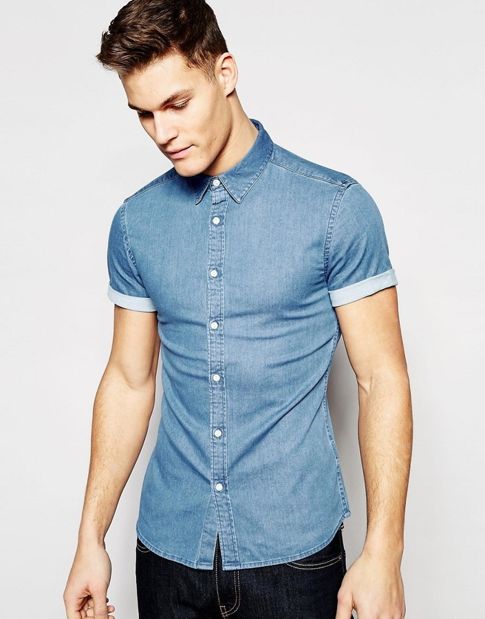 f9f3d95097e ... Asos Brand Skinny Denim Shirt With Short Sleeves In Mid Wash ...